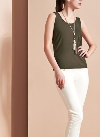 Sleeveless Scoop Neck Cami, Green, hi-res