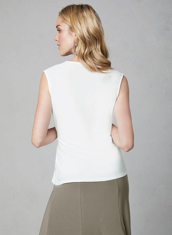 Sleeveless Faux Wrap Top, Off White