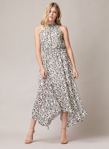 Floral Print Halter Neck Dress, Black,  day dress, floral print, chiffon, halter, spring summer 2020