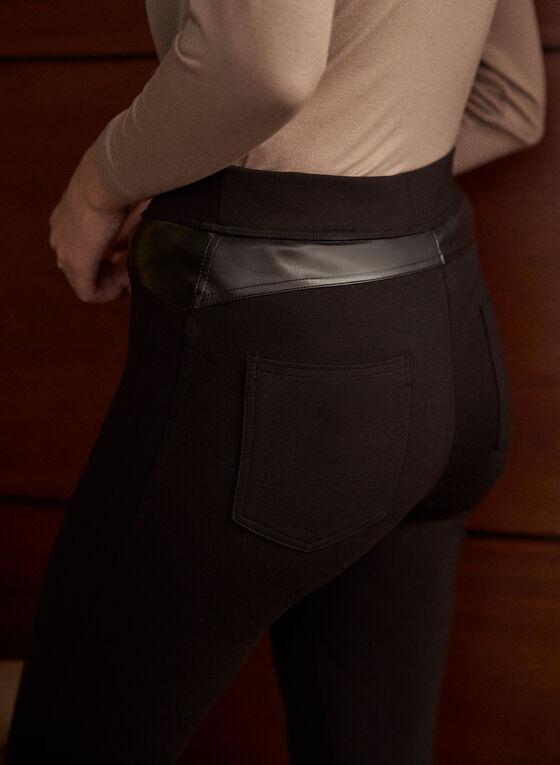 Vegan Leather Pull-On Pants, Black