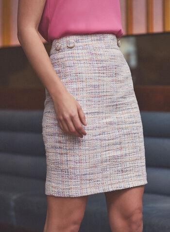 Jupe crayon en tweed, Blanc,  jupe, crayon, tweed, doublé, boutons, printemps été 2020