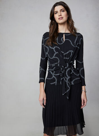 Chain Print Top, Black,  canada, top, chain print, printed top, print, dolman sleeves, long sleeves, fall 2019, winter 2019