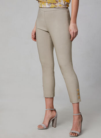 Pull-On Button Detail Capri Pants, Off White,  bangaline, pull-on, elasticized waist, stretchy, spring 2019