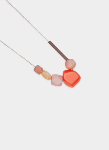 Geometric Bead Necklace, Orange, hi-res