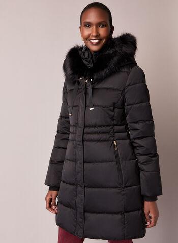 Tahari - Faux Fur Trim Quilted Coat, Black,  fall winter 2020, coat, faux fur, stand collar, grosgrain, ribbed, matte, satin, vegan down, thermatec, vest, warm, winter, hood