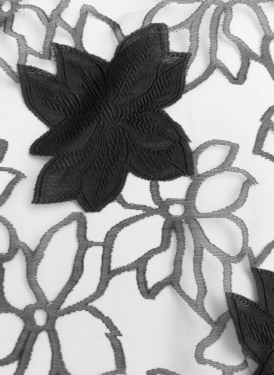 Écharpe diaphane à fleurs, Noir, hi-res