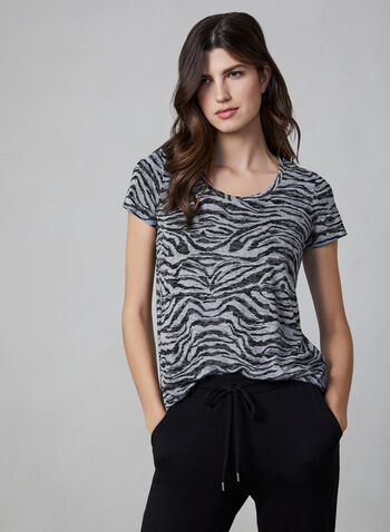 Vince Camuto - Tiger Print Top, Grey, hi-res,  Vince Camuto, top, t-shirt, short sleeves, tiger print, fall 2019, winter 2019