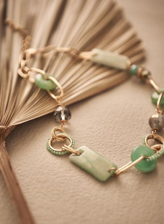 Collier à maillons dorés et pierres en résine , Vert