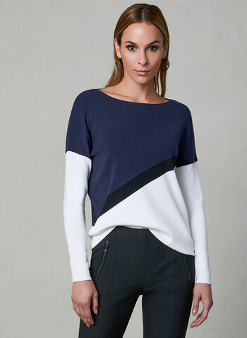 Colour Block Sweater, Off White, hi-res