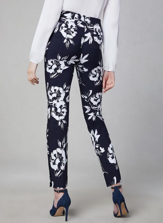 Pantalon à jambe étroite et imprimé floral contrastant, Blanc, hi-res