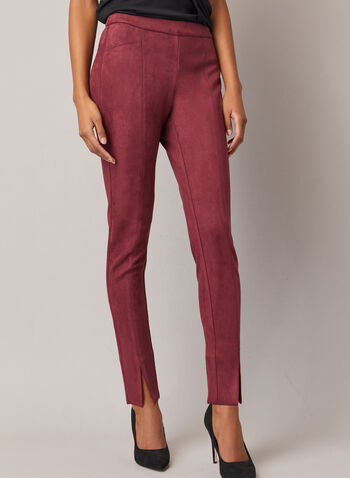 Faux Suede Pull-On Pants, Purple,  pants, faux suede, slit, slim leg, pull-on, fall winter 2020
