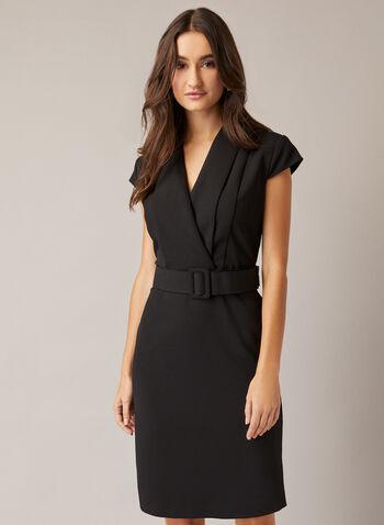 Robe tailleur à ceinture, Noir,  automne hiver 2020, robe, tailleur, ceinture, manches cape, manches courtes, encolure en V, crêpe, croisé, cache-coeur