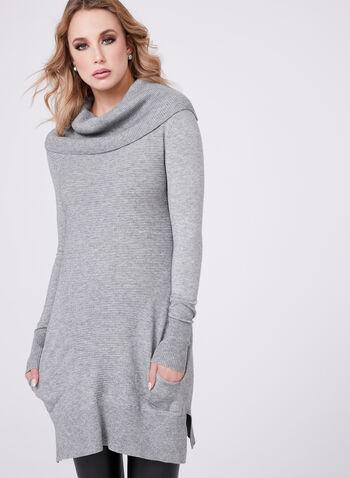 Pull tunique tricot côtelé à col roulé avec poches, Gris, hi-res