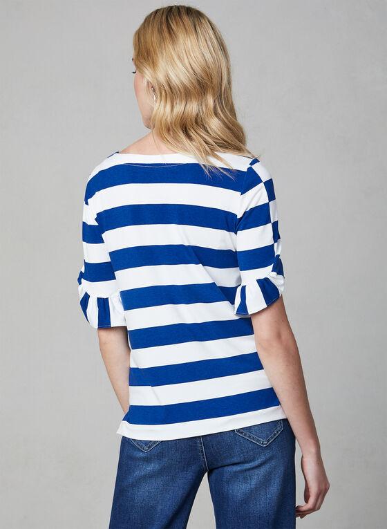 Stripe Print Ruffle Sleeve Top, Blue, hi-res
