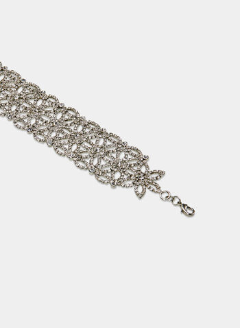 Open Crystal Choker Necklace, Silver, hi-res