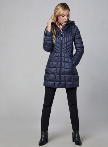Bernardo - Mid-Length Packable Coat, Blue,  cruelty free, water resistant, mid-length, hood, packable, vest, long sleeves, fall 2019, winter 2019
