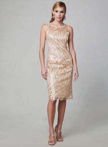 SD Collection - Embroidered Sequin Mesh Dress, Off White, hi-res