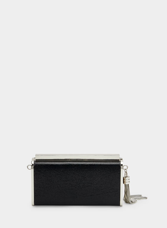 Metal Frame Glitter Clutch, Black