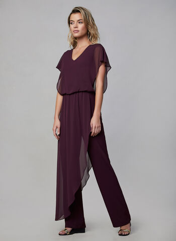 Joseph Ribkoff -  Chiffon Overlay Jumpsuit, Purple,  fall winter 2019, short sleeves, jumpsuit, stretchy fabric, straight leg, chiffon, poncho overlay