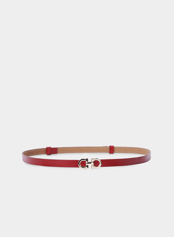 Thin Leather Belt, Red