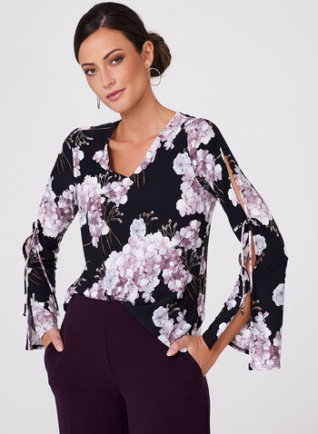Floral Print Cutout Sleeve Top , Black, hi-res