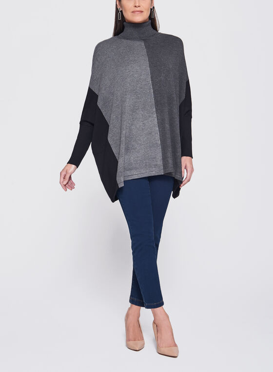 Dolman Sleeve Colour Block Sweater, Grey, hi-res
