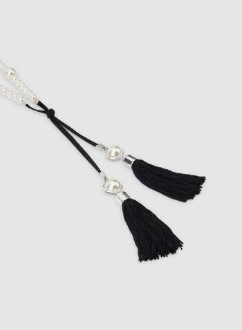 Collier à pompons et perles, Blanc cassé, hi-res,  collier, pompons, perles, cordon, automne hiver 2019