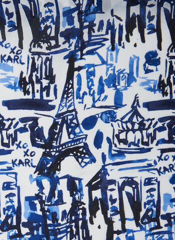 Karl Lagerfeld Paris - Paris Watercolour Scarf, Blue,  scarf, paris, watercolour, modal, silk, spring summer 2020