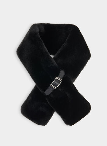 Fake Fur Scarf, Black,  fake fur, scarf, solid, belt, slip, fall 2019, winter 2019