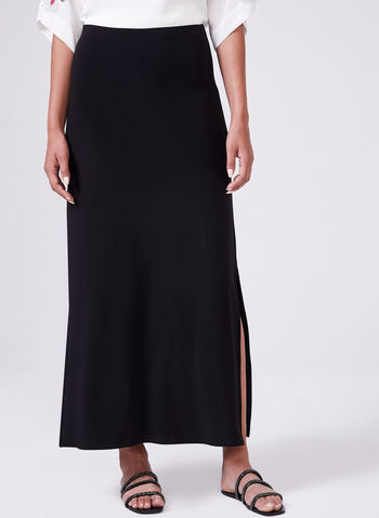 Solid Colour Jersey Maxi Skirt, Black, hi-res