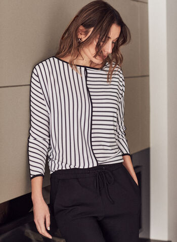 Stripe Print Dolman Sleeve Top, Black,  top, blouse, long sleeves, jersey, striped, boat neck, dolman sleeves, 3/4 sleeves, contrast, spring summer 2021