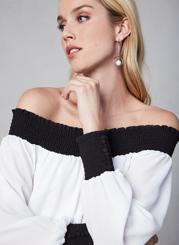 Off The Shoulder Contrast Top , Off White, hi-res,  blouse, off the shoulder, contrasting, smocking, fall 2019, winter 2019