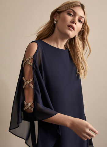BA Nites - Rhinestone Band Detail Dress, Blue,  dress, evening, occasion, cocktail, rhinestone, band, poncho, sleeveless, jersey, chiffon, spring summer 2020