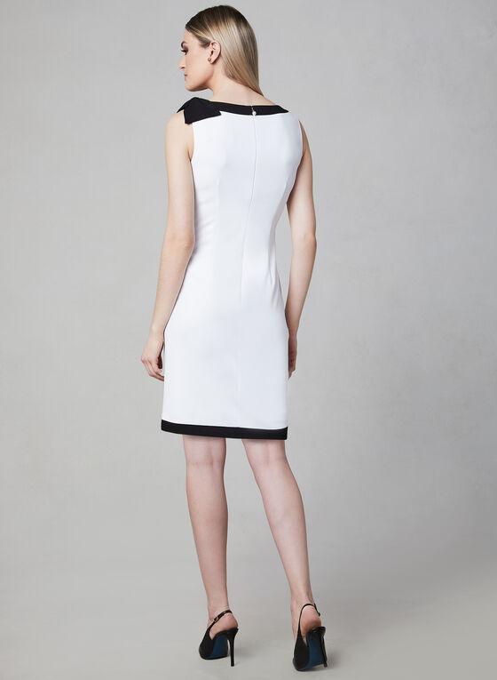 Karl Lagerfeld Paris - Robe à bordures contrastantes et boucle, Blanc cassé