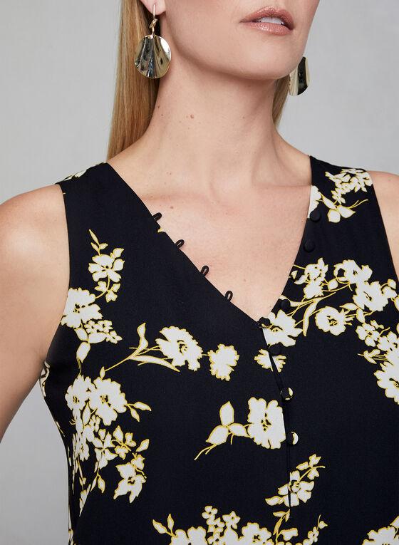 Blouse fleurie à détails boutonnés, Noir