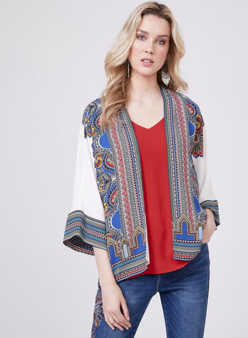 Aztec Print Open Front Top , Blue, hi-res