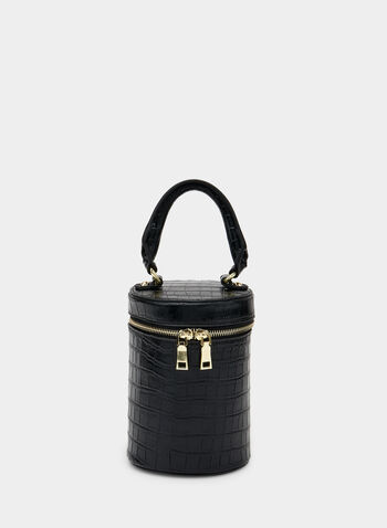 Crocodile Print Zip Around Bag, Black,  tubular, crocodile, removable strap, fall 2019, winter 2019