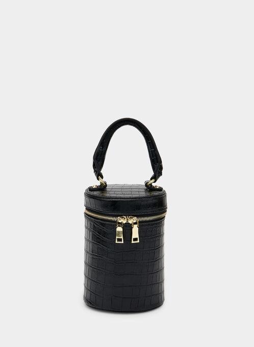 Crocodile Print Zip Around Bag, Black