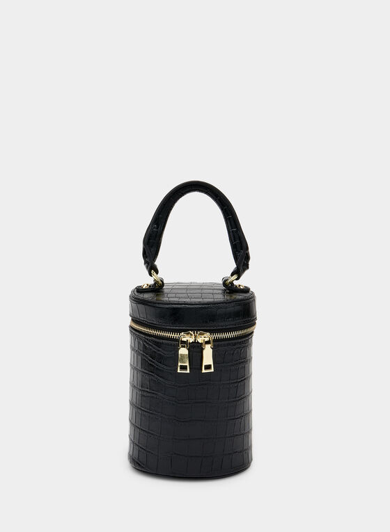 Crocodile Print Zip Around Bag, Black, hi-res