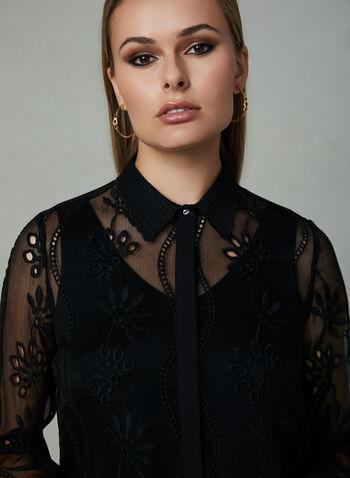 Tunique transparente brodée, Noir, hi-res