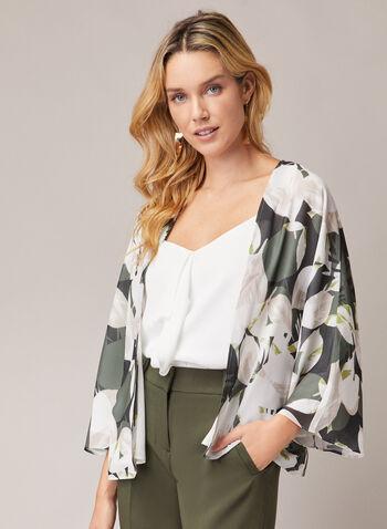 Leaf Print Kimono Top, Green,  top, open front, 3/4 sleeves, kimono, leaf print, fall winter 2020
