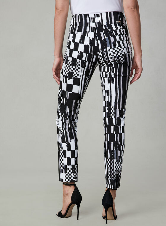 Joseph Ribkoff - Abstract Print Slim Leg Pants, Black, hi-res