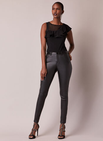 Asymmetric Ruffle Collar Top, Black,  top, sheer, asymmetric, illusion, ruffled, sleeveless, cap sleeve, fall winter 2020