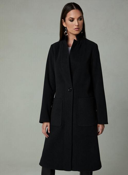 Manteau à col montant cranté, Noir, hi-res