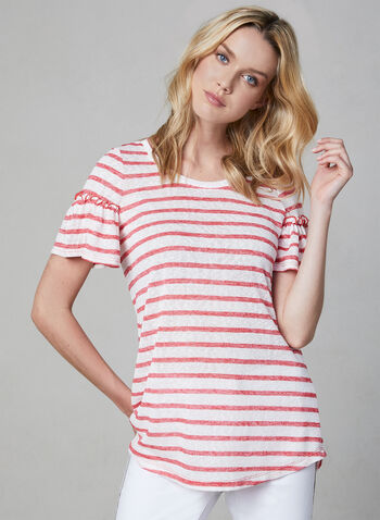 Pure Essence - Stripe Print Ruffle Top, Red, hi-res,  short sleeves, spring 2019