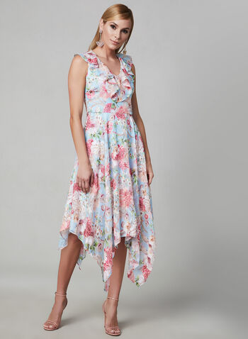 Kensie - Floral Print Sleeveless Dress, Blue, hi-res