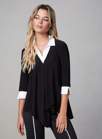 Joseph Ribkoff - Pointed Collar Top, Black, hi-res,