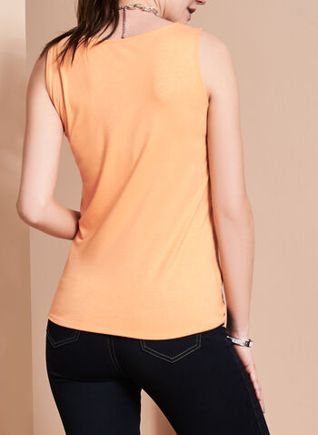 Sleeveless Scoop Neck Cami, Orange, hi-res