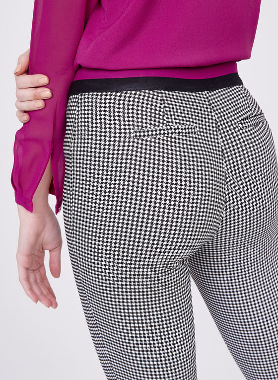 Houndstooth Print Pull-On Ankle Pants, Black, hi-res