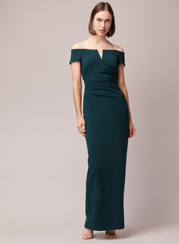 BA Nites - Off-the-Shoulder Gown, Green,  evening dress, column, gown, bardot, off the shoulder, fall winter 2020